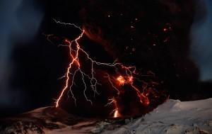 Iceland Volcano Eyjafjallajokull with Lightning