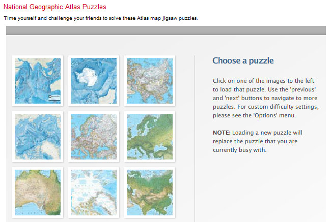 GIS Fun & Games: National Geographic Atlas Online Puzzles
